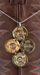 "Shotgun Shell Necklace - 12 GA Winchester Gold Tori on 16"" Sterling Silver Chain by Spent Rounds Designs; Shotgun Shell Jewelry 