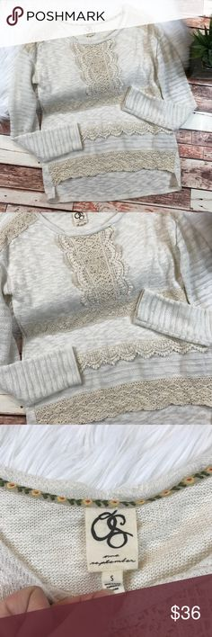 One September crotchet pullover sweater Size small. In excellent condition! Super adorable! Length-23, bust-21 pit to pit ***NO modeling or trades!! ::163 Anthropologie Sweaters