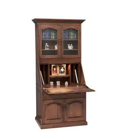 Solid Wood Amish Made Secretary Desk Combining storage and style, this deluxe secretary desk is a handcrafted beauty. Exquisite storage and a ready to go desk that is built to last generations. #secretarydesk