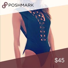 Eyelet bodysuit: Black eyelet bodysuit: shop theharperyoungcollection.com to save Tops