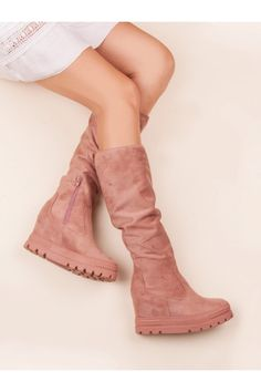 Nose type: Full Heel height: Heel type: Wedge Fastener Type: Slider Insert: Textile Heel: Built-up, stiflised Outsole: Plastic, with tread Occasion: for evening/party Style: Fashion Material: Ecological suede Season: Autumn/winter Gender: Female Wedge Heel Boots, Party Fashion, Fall Winter, Shoes Heels, Platform, Wedges, Female, Sneakers, Sexy