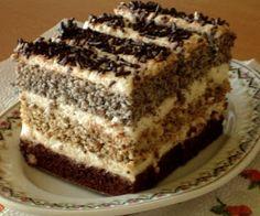 Ez is inkább klasszikus sütemény, de kifejezetten finom és látványos. 3 lapból áll, az egyik kakaós, a második diós, a 3. mákos, ezek pedi... Hungarian Desserts, Hungarian Cake, Hungarian Recipes, Cookie Desserts, No Bake Desserts, Cookie Recipes, Dessert Recipes, Streusel Coffee Cake, Fried Ice Cream