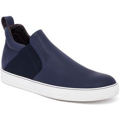 Lanvin Chelsea Leather Slip-Ons : Lanvin Shoes (2 575 PLN) ❤ liked on Polyvore featuring men's fashion, men's shoes, apparel & accessories, dark blue, mens slip on shoes, mens woven leather slip-on shoes, mens slipon shoes, mens leather slip on shoes and lanvin men's shoes
