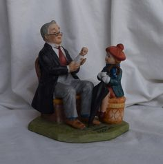"Vintage Norman Rockwell ""Doctor and The Doll"" Porcelain Figurine, Collectables, NR Collector, Home D Hummel Figurines, Collectible Figurines, Porcelain Jewelry, China Porcelain, Porcelain Doll, China Dolls, Asian Decor, China Mugs, Norman Rockwell"