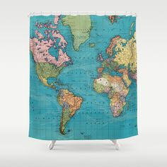Colorful antique world map fabric shower curtain antique map world world map map of the world old world map gumiabroncs Image collections
