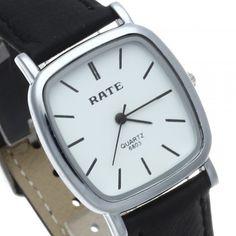 [$8.99] Men Quartz Wrist Watch Black Leather Band Silver Bezel Simple Square Dial New