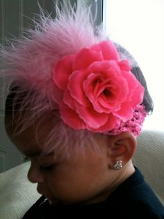 pink crochet baby head band with fluffy pink by samanthacorey, $13.99