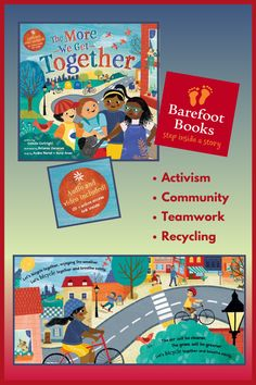 """Set to the familiar tune of """"The More We Get Together,"""" this new addition to Barefoot Books' bestselling singalong collection features a diverse group of children who work together to make their urban neighborhood cleaner, friendlier, and safer for everyone. End matter includes an age-appropriate introduction to recycling, activism, community gardens, teamwork and more, as well as actionable ways for children to get involved in their own neighborhoods. Barefoot Books, Working Together, Book Gifts, Teamwork, Childrens Books, The Neighbourhood, Children Story Book, The Neighborhood, Children's Books"""