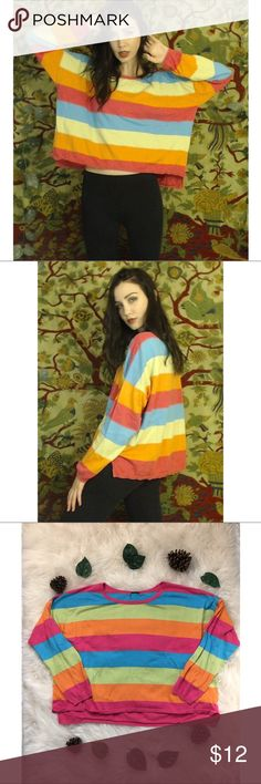 ✨🌈Fun Colorful Long Sleeve!🌈✨ ✨🌈Fun Colorful Long Sleeve! Brightens any cold day and is in good condition! I'm open to any offers and bundles are better!🌈✨  ✨🌈NO BRAND/MATERIAL TAG🌈✨  ✨🌈MEASUREMENTS🌈✨ ✨🌈Bust: 54 inches, Length: Front-21 inches Back-24 inches, Shoulders: 30 inches, Sleeves: 18 inches, Waist: 54 inches🌈✨  ✨🌈Have a wonderful day!🌈✨ Tops Tees - Long Sleeve