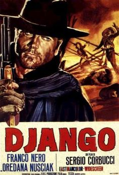 1966.   A coffin-dragging gunslinger enters a town caught between two feuding factions, the KKK and a gang of Mexican Bandits. That man is Django, and he is caught up in a struggle against both parties.  Stars: Franco Nero, José Canalejas, José Bódalo .
