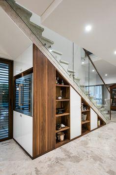 stairway storage understairs storage storage under stairs staircase contemporary… Staircase Banister Ideas, Under Staircase Ideas, Storage Under Staircase, Stairway Storage, Stair Shelves, Cabinet Under Stairs, Space Under Stairs, Under The Stairs, Staircase Contemporary