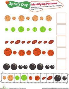 patterns sports patterns worksheets montessori and kindergarten. Black Bedroom Furniture Sets. Home Design Ideas