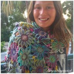 atty's: Sunny Crochet Flower Scarf made with Noro Taiyo