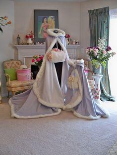 Winter Wonderland Bridal cape 75 inch SILVER  / IVORY  Satin with Fur Trim Wedding Cloak  Handmade in USA