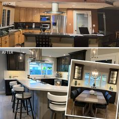 Talk about a transformation! Angela Whitmarsh of Diablo Valley Cabinetry took a kitchen and dining room and turned it into a stunning open space with 660 Cherry Slate. #waypointlivingspaces #kitchencabinets #kitchenremodel Kitchen Dining, Kitchen Cabinets, Dining Room, Cherry Cabinets, Cabinet Doors, Slate, Kitchen Remodel, Living Spaces, Furniture