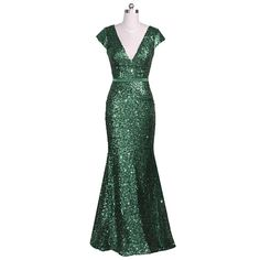 Emerald Green Long Fully Sequined Cap Sleeve V Neck Prom Party Dresses