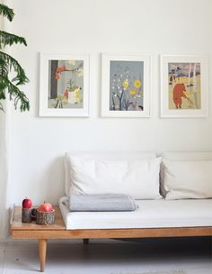 illustrations above the couch