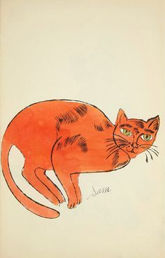Orange Cat Crouching (from 25 Cats Named Sam and One Blue Pussy) | From a unique collection of animal prints at https://www.1stdibs.com/art/prints-works-on-paper/animal-prints-works-on-paper/