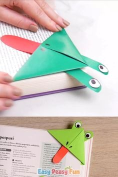 Frog Corner Bookmarks - Origami for Children - Hop Hop it& Time, Frog Corner - . - Frog Corner Bookmarks – Origami for kids – Hop Hop, it& time to create frog corner bookma - Kids Origami, Paper Crafts Origami, Paper Crafts For Kids, Diy Home Crafts, Paper Crafting, Diy For Kids, Fun Crafts, Arts And Crafts, Origami Frog