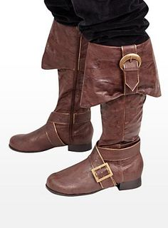 Mens Pirate Boots with Buckles brown