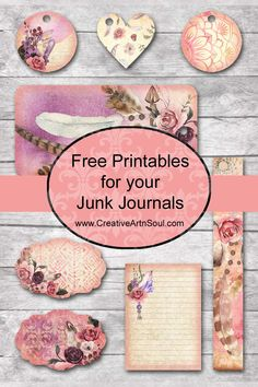 The Free Spirit Printable Journal is designed in soft watercolors with beautiful imagery to inspire your spirit to run free. Use this kit to make your own junk journal, or incorporate the pages into Papel Vintage, Vintage Paper, Vintage Tags, Vintage Crafts, Vintage Roses, Printable Scrapbook Paper, Printable Paper, Decoupage Printables, Journal Cards