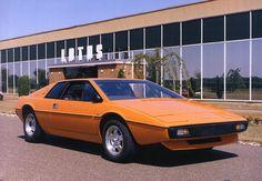 Lotus Esprit S1 in Colorado Orange. Pictured outside the factory in Hethel.