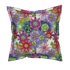 Serama Throw Pillow featuring Mix Brazil Passiflora by joancaronil | Roostery Home Decor