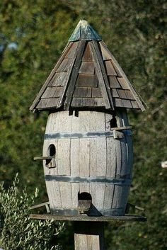 Wine barrel birdhouse
