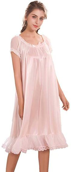 Flaydigo Women s Nightgowns Short Sleeve Satin Silk Plus Size Pink Victorian  Nightdress at Amazon Women s Clothing 27b710753