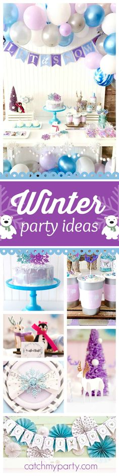Don't miss this adorable Winter Party. The dessert table and decor is gorgeous!! See more party ideas and share yours at CatchMyParty.com