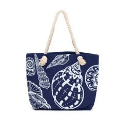 Summer bag with navy rope and seashells pattern. Comfortable and fashionable. Spring-summer 2016. #summerbag Szaleo.pl | Be new fashioned & accessorized!