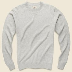 Faherty Sconset Crew Sweater - Light Grey Heather