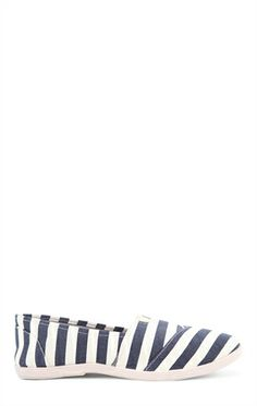 Deb Shops striped canvas slip on
