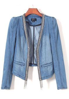 Denim Blue Diamond V-neck Denim Trench Coat
