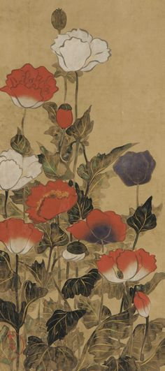 japaneseaesthetics:Poppies. Painting. 18th or 19th c, Japan.. Gift of Charles Lang Freer . Freer Gallery of Art and Arthur M. Sackler Gallery