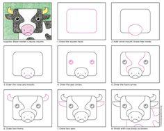 Draw Square Cow Head