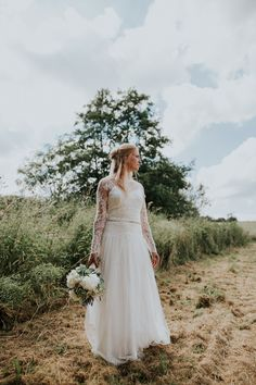 Silk Lace Dress Gown Bride Bridal Sleeves Dana Bolton Woodland Countryside Camp Wedding http://www.joannanicolephotography.com/