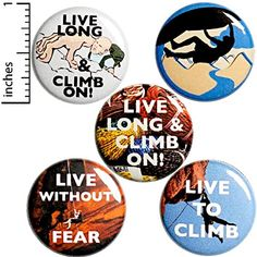 Rock Climbing Buttons Cool Pins for Backpacks or Jackets Lapel Pins Awesome Climb Live Without Fear Climber 5 Pack Gift Set 1 Inch Funny Buttons, Cool Buttons, Funny Magnets, Jacket Pins, Best Stocking Stuffers, 1 Live, Cool Pins, Cool Backpacks, Rock Climbing