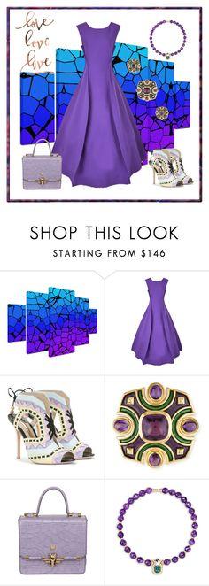 """Temptation"" by zouus ❤ liked on Polyvore featuring Trademark Fine Art, Natasha Zinko, Sophia Webster, Trussardi, Mellerio, purpledress and purplelove"
