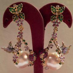 Australian Pearls and Glazed Butterflies Earrings