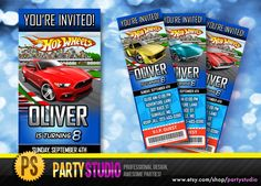 Hot Wheels Birthday Ticket Invite Customizable by Partystudio