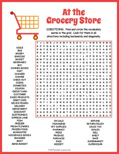Fun printable worksheet for ELA or ESL students features 52 grocery store to hunt down. Free Printable Word Searches, Free Printable Math Worksheets, Free Printables, Printable Word Search Puzzles, Printable Word Games, English Word Games, English Activities, Preschool Activities, Kids Word Search