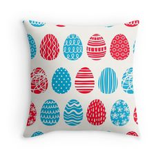Cute egg pattern, random pattern, red,white,blue,modern,trendy,contemporary pattern