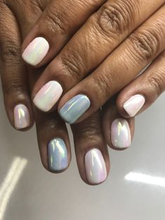 White chrome with light blue chrome accent gel nails