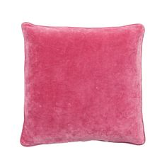 LYNETTE CUSHION BRIGHT PINK MED.  $84.95 AUD. 100% Cotton Velvet Cushion with Linen Piping - 50 x 50cm.  Colour: Bright Pink. Note: Every cushion is filled with a 100% feather insert.