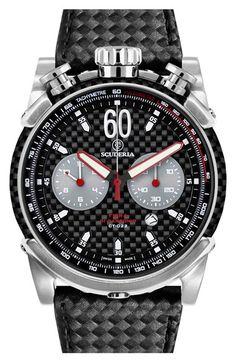 CT Scuderia 'Fibra di Carbonio' Chronograph Leather Watch, 44mm