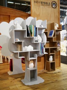 Open freestanding kids bookcase LOUANE ARBRES Collection by Mathy by Bols | design Christophe Boulin