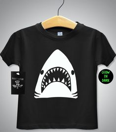 GLOW in THE DARK shark tshirt, baby t shirt, toddler t shirt, funny kids t shirts, t shirts for boys,black tshirt, kids clothes,baby onsie, by cadetseven on Etsy