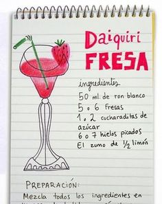 How to make my favorite drink: Daiquiri de morango . Bar Drinks, Wine Drinks, Alcoholic Drinks, Beverages, Cocktails, Cocktail Drinks, Martinis, Happy Drink, Alcohol Drink Recipes