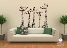 wall decor, living rooms, famili, wall decals, giraff, family wall, kid rooms, hous, wall stickers